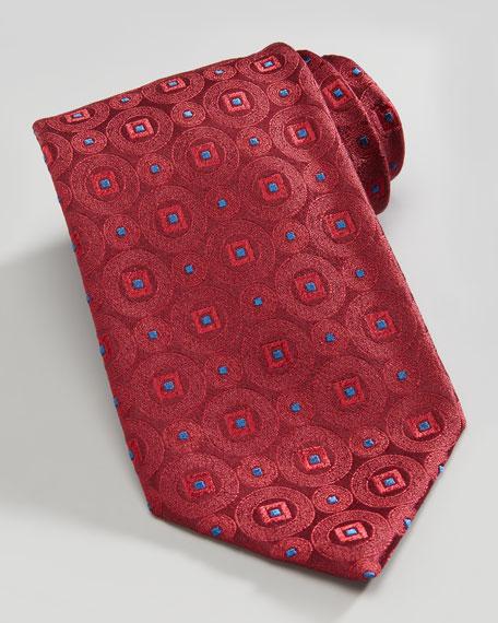 Medallion Silk Tie, Red/Blue