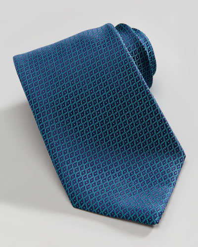 Charvet Neat Grid Silk Tie, Teal/Blue