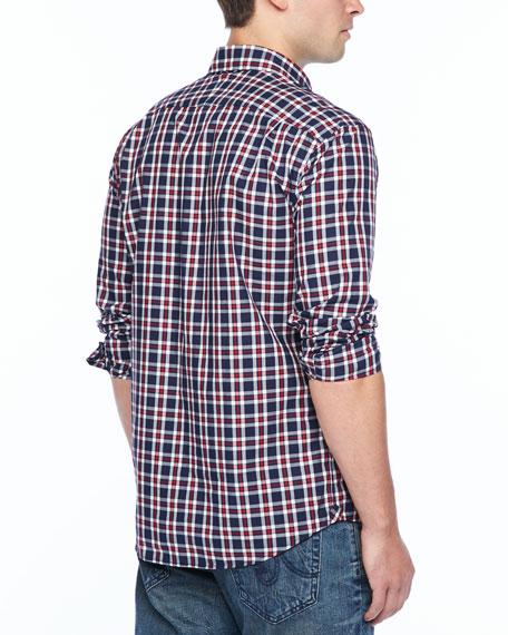 Small-Plaid Long-Sleeve Shirt, Red/Blue