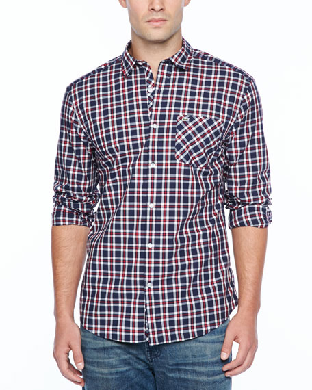 Small-Plaid Long-Sleeve Shirt, Red/Blue