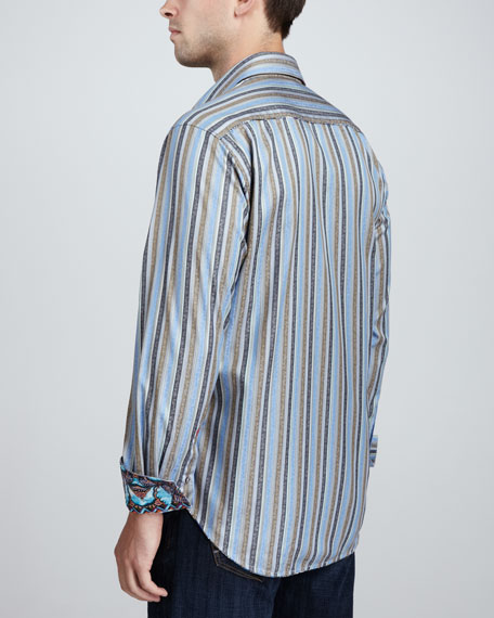 Davis Striped Sport Shirt, Blue