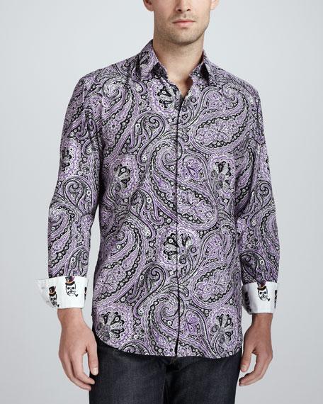 Joule Paisley Sport Shirt, Purple
