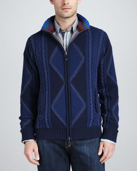 Limited Edition Macon Zip-Front Sweater, Navy