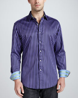 Robert Graham Balik Striped Sport Shirt, Purple
