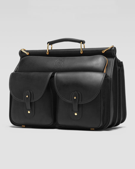 Leather Dowel Gusset Briefcase, Black