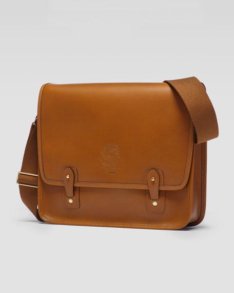 The Office No. 169 Flap Messenger Bag with Web Shoulder Strap, Chestnut
