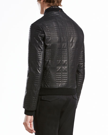 Quilted Leather Bomber Jacket, Black