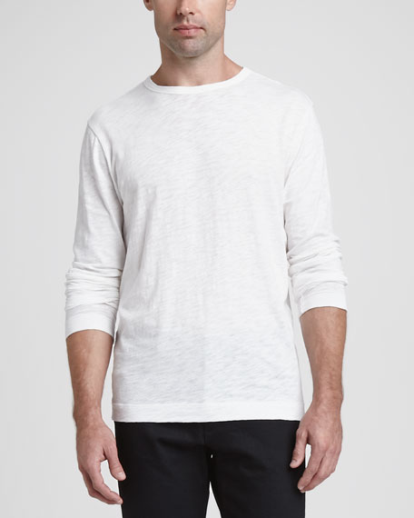 Long-Sleeve Slub Crewneck Tee, White