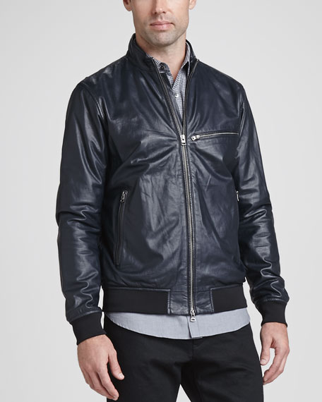 Viek L Leather Zip-Front Jacket, Navy