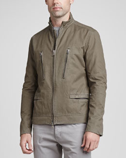 Theory Cotton-Twill Zip-Front Jacket, Khaki Green