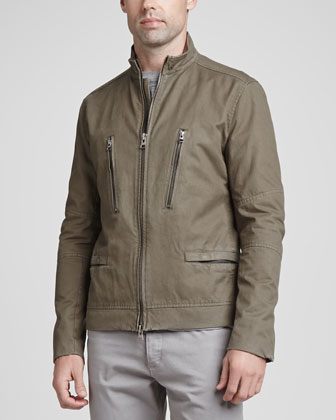 Cotton-Twill Zip-Front Jacket, Khaki Green