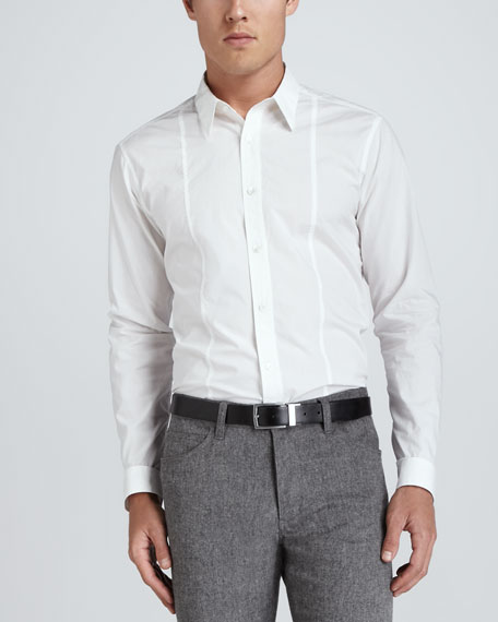 Seamed-Front Woven Dress Shirt, White