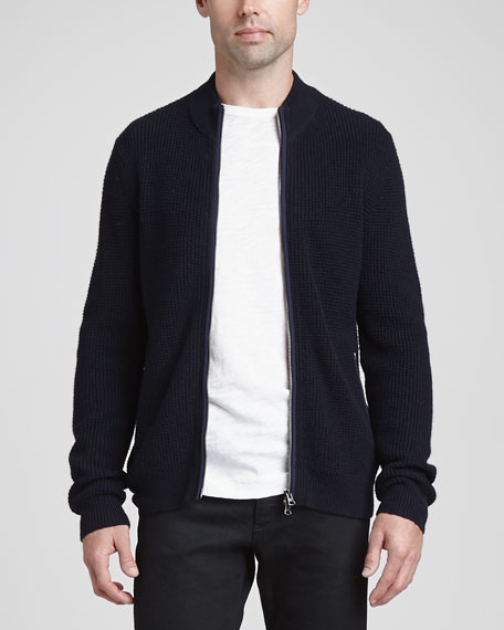 Cosmin W Zip Sweater, Navy
