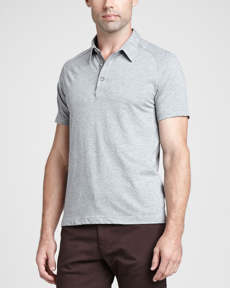 Overdyed Stretch-Jersey Polo, Gray