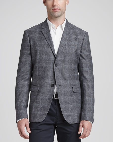 Wool/Cashmere Plaid Sport Coat, Gray