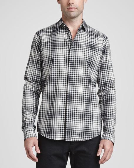 Woven Plaid Sport Shirt, Black Multi