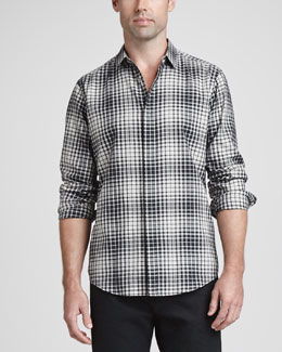 Theory Woven Plaid Sport Shirt, Black Multi