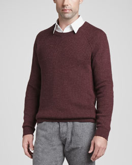Theory Alpaca-Wool Blend Crewneck Sweater, Red