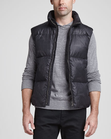 Theory Printed Quilted Puffer Vest, Black