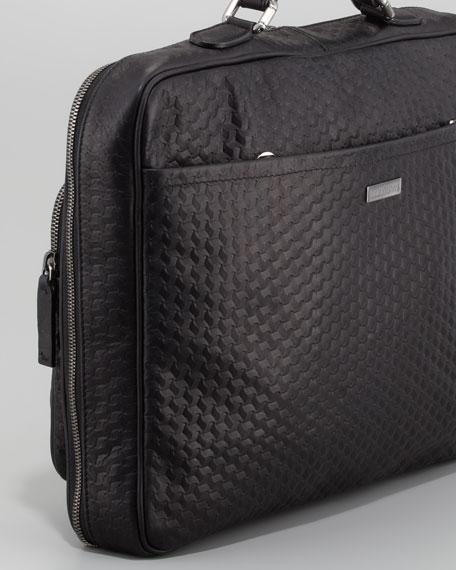Geo Leather Briefcase, Black