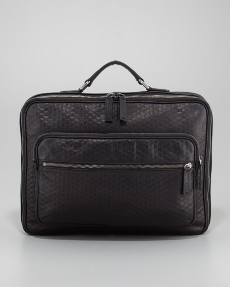 Geo Leather Briefcase, Black