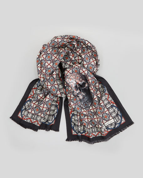 Skull-Print Stained Glass Silk Scarf