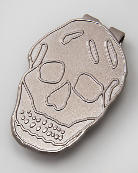 Blackened Brass Skull Money Clip
