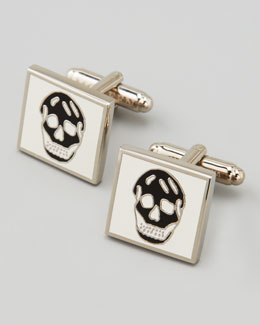 Alexander McQueen Square Enamel Skull Cuff Links, White/Black