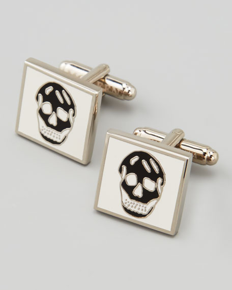 Square Enamel Skull Cuff Links, White/Black