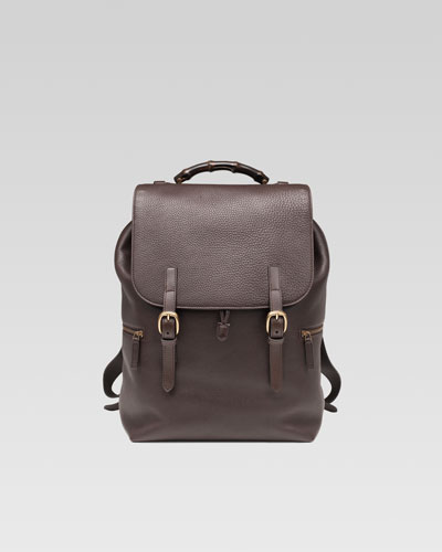Leather Drawstring Backpack, Dark Brown