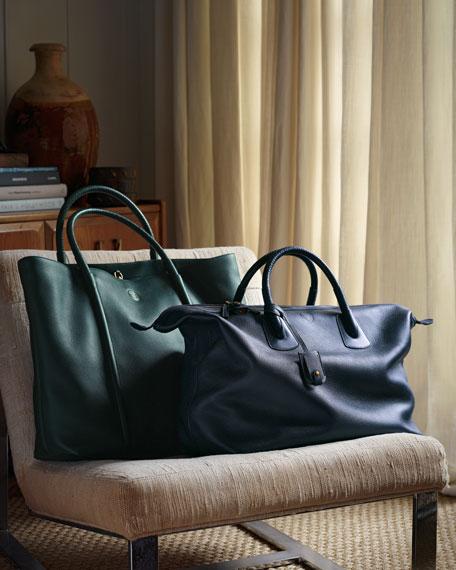 Braided-Handle Tote Bag, Dark Green