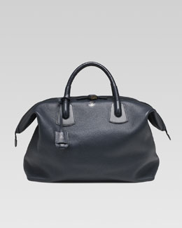 Gucci Braided-Handle Duffle Bag, Navy