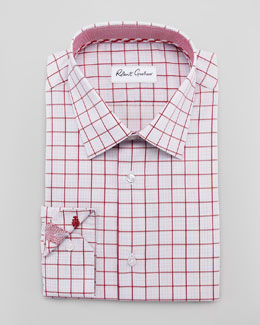 Robert Graham Panter Windowpane Dress Shirt, Red