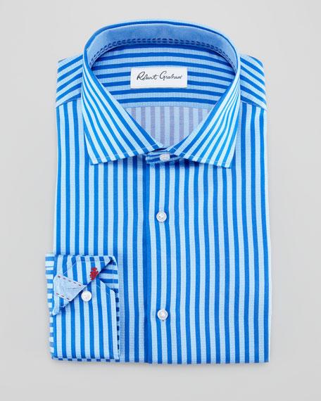 Rupert Satin-Stripe Dress Shirt, Blue