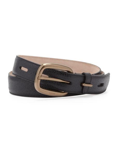 Shiny Leather Belt, Black