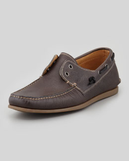 John Varvatos Star USA Schooner Leather Boat Shoe, Dark Brown