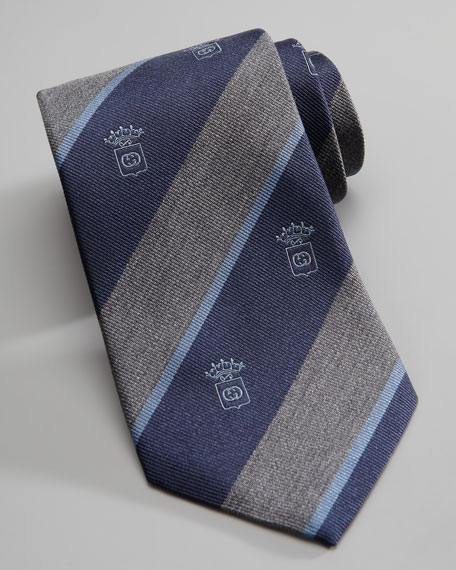 Crest Striped Silk Tie, Gray/Blue