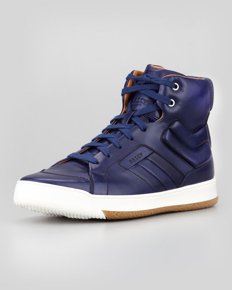Atlanta Leather High-Top Sneaker, Blue