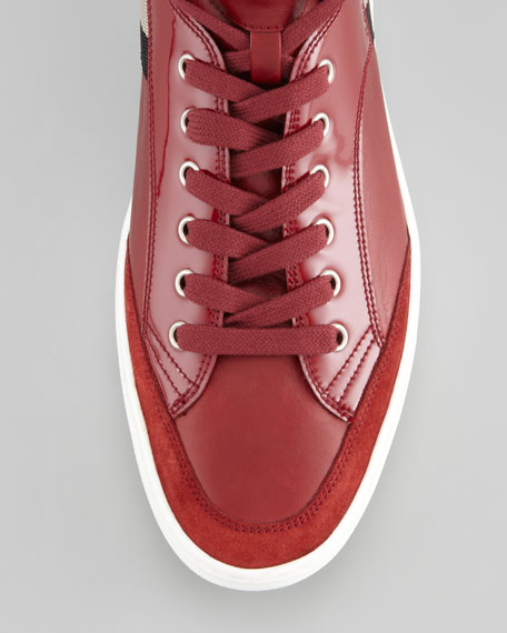 Oldani Mixed-Leather High-Top Sneaker