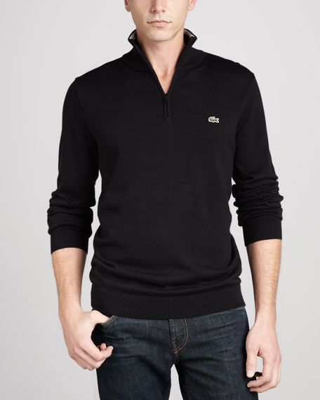 1/4-Zip Tipped Pullover, Black/Gray
