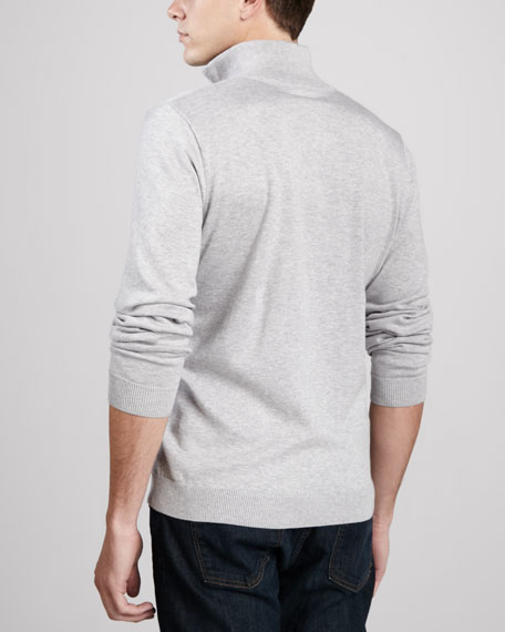 1/4-Zip Tipped Pullover, Gray/Black
