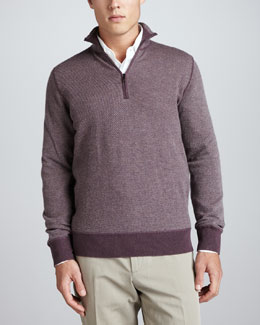 Loro Piana Roadster Half-Zip Cashmere Sweater, Wine