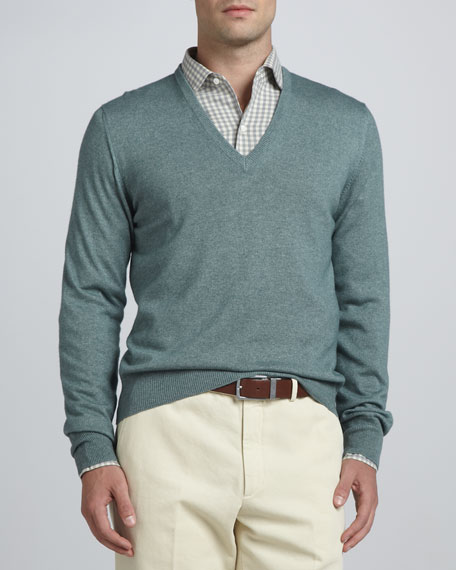 Anytime V-Neck Sweater, Green
