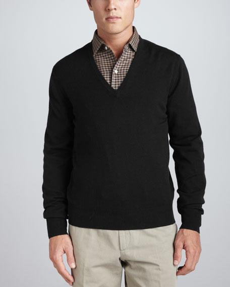 Anytime Cashmere-Silk V-Neck Sweater, Black