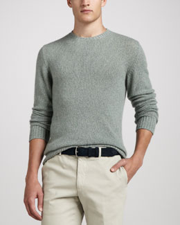 Loro Piana Giroc Cashmere Crewneck Sweater, Green