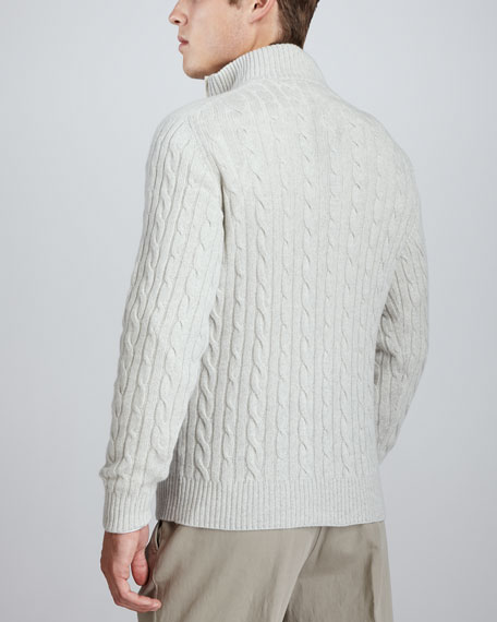 Mezzocollo Cable-Knit Cashmere Pullover Sweater, Silver Natural