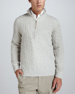 Loro Piana Mezzocollo Cable-Knit Cashmere Pullover Sweater, Silver Natural
