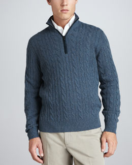 Loro Piana Mezzocollo Cable-Knit Cashmere Pullover Sweater, Gray/Blue