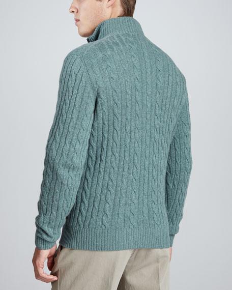 Mezzocollo Cable-Knit Cashmere Pullover Sweater, Green