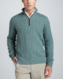 Loro Piana Mezzocollo Cable-Knit Cashmere Pullover Sweater, Green
